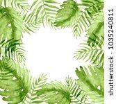 watercolor frame tropical... | Shutterstock . vector #1035240811