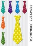 Bright polka dot silk tie stickers in vector format. - stock vector