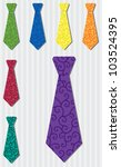 Bright filigree silk tie stickers in vector format. - stock vector