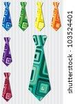 Bright retro square silk tie stickers in vector format. - stock vector