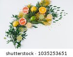 composition of flowers and... | Shutterstock . vector #1035253651