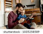father teaching daughter to... | Shutterstock . vector #1035258589