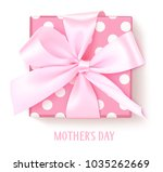 vector gift box with pink bow...   Shutterstock .eps vector #1035262669