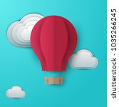 3d vector paper cut flying red... | Shutterstock .eps vector #1035266245