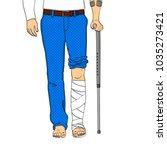 pop art men legs in plaster ... | Shutterstock .eps vector #1035273421