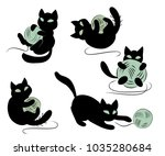 Stock vector set of funny black kittens playing with clews 1035280684