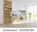 modern kitchen white room... | Shutterstock . vector #1035281584