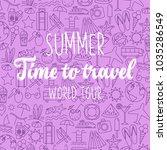 thin line style vector summer... | Shutterstock .eps vector #1035286549