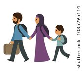 refugee migrant family  two... | Shutterstock .eps vector #1035295114