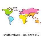 simplified world map... | Shutterstock .eps vector #1035295117