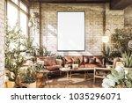 poster mockup in cozy loft... | Shutterstock . vector #1035296071