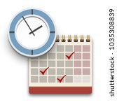 clock and calendar with check... | Shutterstock .eps vector #1035308839