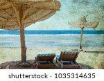 old photo beautiful seashore... | Shutterstock . vector #1035314635