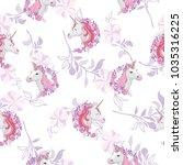 unicorn and rainbow seamless... | Shutterstock .eps vector #1035316225