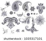 set of paisley  | Shutterstock .eps vector #1035317101