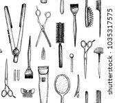 barber shop   vertical seamless ... | Shutterstock .eps vector #1035317575