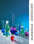 laboratory glass with colorful... | Shutterstock . vector #1035321445