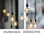 lamps on the coffee place with... | Shutterstock . vector #1035321541