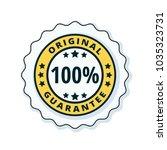 100  original guarantee label... | Shutterstock .eps vector #1035323731