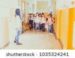 pupils going on break | Shutterstock . vector #1035324241