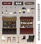 coffee shop bar interior...   Shutterstock .eps vector #1035328549