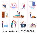 neighbors relations cartoon... | Shutterstock .eps vector #1035328681