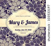 wedding card or invitation with ... | Shutterstock .eps vector #103533197