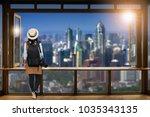 asian female tourists  she... | Shutterstock . vector #1035343135
