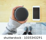 bluetooth speaker with smart... | Shutterstock . vector #1035343291