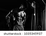 muscular man doing heavy weight ...   Shutterstock . vector #1035345937