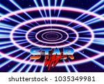 neon tunnel in space with 80s... | Shutterstock .eps vector #1035349981