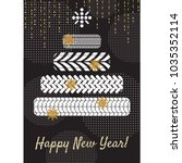 tire new year tree greeting... | Shutterstock .eps vector #1035352114