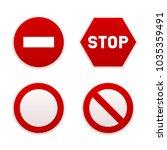 stop sign set.  | Shutterstock . vector #1035359491