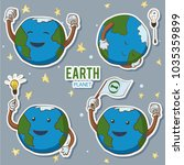 cartoon earth globe turns out...   Shutterstock .eps vector #1035359899