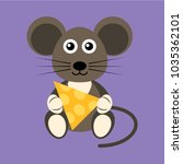cartoon flat mouse with cheese | Shutterstock .eps vector #1035362101