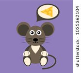 cartoon flat mouse with cheese | Shutterstock .eps vector #1035362104