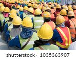 group of construction worker... | Shutterstock . vector #1035363907