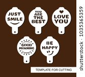 set of coffee stencils with... | Shutterstock .eps vector #1035365359