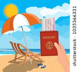 passport and airplane ticket in ... | Shutterstock .eps vector #1035366331