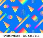 memphis seamless pattern.... | Shutterstock .eps vector #1035367111