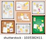 office wall board pined... | Shutterstock .eps vector #1035382411