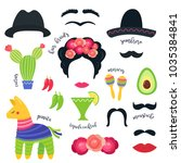 mexican fiesta party symbols... | Shutterstock .eps vector #1035384841