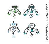 robot logo design | Shutterstock .eps vector #1035385495