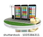 3d illustration. laptop with... | Shutterstock . vector #1035386311