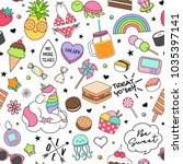 cute funny doodles seamless... | Shutterstock .eps vector #1035397141