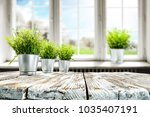 blurred background of window... | Shutterstock . vector #1035407191