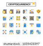 cryptocurrency and bitcoin flat ...   Shutterstock .eps vector #1035423397