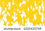 yellow paint flows down. 3d...   Shutterstock . vector #1035425749
