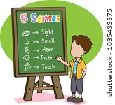 the boy teach about five senses | Shutterstock .eps vector #1035433375