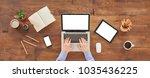 laptop  digital tablet  coffee... | Shutterstock . vector #1035436225